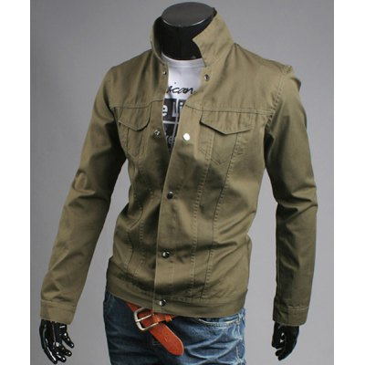 Stylish Turndown Collar Double Pockets Solid Color Slimming Long Sleeve Cotton Blend Coat For Men