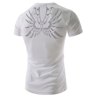 Fashion Round Neck Abstract Tattoo Print Slimming Short Sleeve Polyester T-Shirt For Men