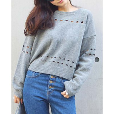 Casual Long Sleeve Hollow Out Backless Loose-Fitting Sweater For Women