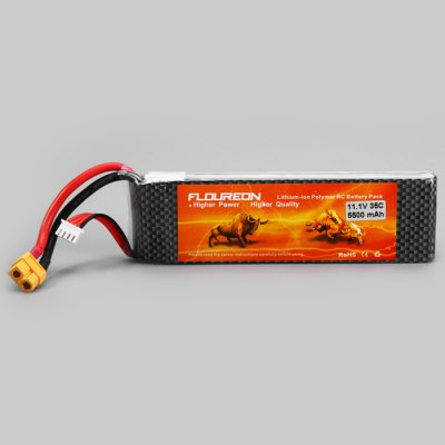 FLOUREON RC Battery 3S 35C 11.1V 5500mAhBattery<br>FLOUREON RC Battery 3S 35C 11.1V 5500mAh<br><br>Package Contents: 1 x FLOUREON 11.1V 5500mAh 3S 35C Lipo RC Battery for RC Helicopter RC Airplane RC Hobby (XT60 Plug)<br>Package size (L x W x H): 16.50 x 6.00 x 3.80 cm / 6.5 x 2.36 x 1.5 inches<br>Package weight: 0.497 kg<br>Product weight: 0.417 kg<br>Type: Servo