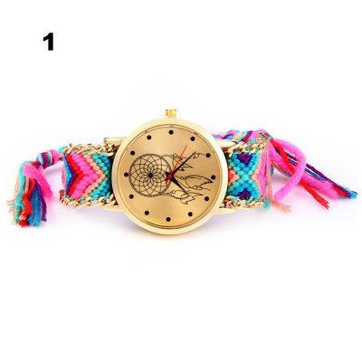 Woven Woolen Female Quartz Watch Pull Cord BraceletWomens Watches<br>Woven Woolen Female Quartz Watch Pull Cord Bracelet<br><br>Watches categories: Female table<br>Style: Fashion&amp;Casual,Retro<br>Movement type: Quartz watch<br>Shape of the dial: Round<br>Display type: Analog<br>Case material: Stainless Steel<br>Band material: Woolen<br>Clasp type: No Clasp<br>The dial thickness: 1.0 cm / 0.39 inches<br>The dial diameter: 4.0 cm / 1.57 inches<br>Wearable length: 14 - 28 cm / 5.91 - 11.0 inches<br>Product weight: 0.028 kg<br>Package weight: 0.078 kg<br>Product size (L x W x H): 30.00 x 4.00 x 1.00 cm / 11.81 x 1.57 x 0.39 inches<br>Package size (L x W x H): 8.00 x 5.00 x 2.00 cm / 3.15 x 1.97 x 0.79 inches<br>Package Contents: 1 x Woven Woolen Watch
