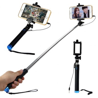 Portable 3.5mm Jack Cable Stretch Selfie Monopod Stick Remote Control Shutter with Phone Holder