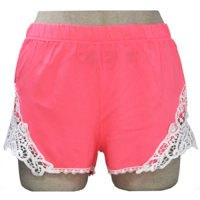 Sweet Elastic Waist Laced Shorts For Women
