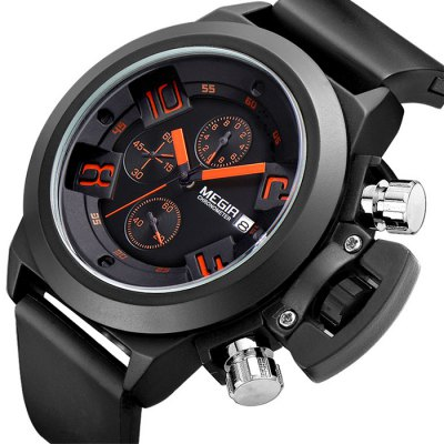 MEGIR 2002 Male Quartz WatchMens Watches<br>MEGIR 2002 Male Quartz Watch<br><br>Brand: MEGIR<br>Watches categories: Male table<br>Watch style: Business<br>Available Color: Black,White<br>Movement type: Quartz watch<br>Shape of the dial: Round<br>Display type: Analog<br>Case material: Alloy<br>Band material: Silicone<br>Clasp type: Pin buckle<br>Special features: Date,Moving small three stitches<br>Water resistance : 30 meters<br>The dial thickness: 1.5 cm / 0.59 inches<br>The dial diameter: 3.7 cm / 1.45 inches<br>Product weight: 0.120 kg<br>Package weight: 0.17 kg<br>Product size (L x W x H): 25 x 3.7 x 1.5 cm / 9.83 x 1.45 x 0.59 inches<br>Package size (L x W x H): 26 x 4.7 x 2.5 cm / 10.22 x 1.85 x 0.98 inches<br>Package Contents: 1 x MEGIR 2002 Watch