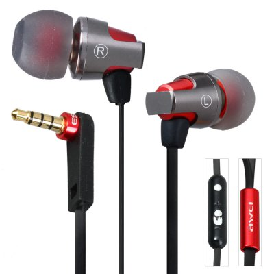 Awei ES860hi 1.2m Flat Cable Design Super Bass In - ear Earphone with Mic Volume Control for Smartphone Tablet PC