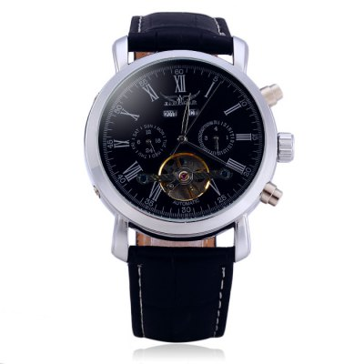 Jaragar A540 Male Tourbillon Automatic Mechanical Watch with Genuine Leather BandMens Watches<br>Jaragar A540 Male Tourbillon Automatic Mechanical Watch with Genuine Leather Band<br><br>Available Color: Black,Brown<br>Band material: Genuine Leather<br>Brand: Jaragar<br>Case material: Stainless Steel<br>Clasp type: Pin buckle<br>Display type: Analog<br>Movement type: Automatic mechanical watch<br>Package Contents: 1 x Jaragar A540 Automatic Mechanical Watch<br>Package size (L x W x H): 26.50 x 5.40 x 2.30 cm / 10.43 x 2.13 x 0.91 inches<br>Package weight: 0.1260 kg<br>Product size (L x W x H): 25.50 x 4.40 x 1.30 cm / 10.04 x 1.73 x 0.51 inches<br>Product weight: 0.0760 kg<br>Shape of the dial: Round<br>Special features: Tourbillon, Working small two stitches, Calendar<br>The band width: 2.0 cm / 0.79 inches<br>The dial diameter: 4.4 cm / 1.73 inches<br>The dial thickness: 1.3 cm / 0.51 inches<br>Watch style: Business<br>Watches categories: Male table<br>Wearable length: 19 - 23 cm / 7.48 - 9.06 inches