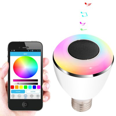 BL08A Smart Bluetooth 4.0 Music Speaker Lamp LED Bulb E27 Intelligent Light Holiday Party Decoration GiftSmart Lighting<br>BL08A Smart Bluetooth 4.0 Music Speaker Lamp LED Bulb E27 Intelligent Light Holiday Party Decoration Gift<br><br>Bulb Base Type: E27<br>Voltage: AC100-240V<br>Lumen: 26 - 28LM<br>Bluetooth Version: 4.0<br>Wireless distance: 10M<br>Product weight: 0.1600 kg<br>Package weight: 0.2600 kg<br>Product Size  ( L x W x H ): 8.00 x 7.20 x 10.00 cm / 3.15 x 2.83 x 3.94 inches<br>Package Size ( L x W x H ): 12.50 x 9.60 x 8.20 cm / 4.92 x 3.78 x 3.23 inches<br>Package Contents: 1 x BL08A Bluetooth Music Light