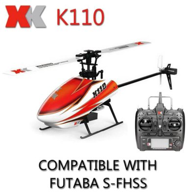 XK K110 6CH Brushless Single Blade RC Helicopter RTF with 3D and 6G Mode