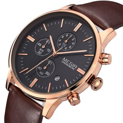 MEGIR 2011 Water Resistance Male Japan Quartz Watch with Date Function Genuine Leather Band