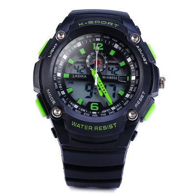 Lasika 9002 Double Movt LED Sports Army Watch 30M Water ResistanceSports Watches<br>Lasika 9002 Double Movt LED Sports Army Watch 30M Water Resistance<br><br>Available Color: Black,Blue,Green,Yellow<br>Band material: Rubber<br>Brand: Lasika<br>Case material: PC<br>Clasp type: Pin buckle<br>Display type: Analog-Digital<br>Movement type: Double-movtz<br>Package Contents: 1 x Lasika 9002 LED Watch<br>Package size (L x W x H): 26.00 x 6.00 x 2.50 cm / 10.24 x 2.36 x 0.98 inches<br>Package weight: 0.1070 kg<br>People: Unisex table<br>Product size (L x W x H): 25.00 x 5.00 x 1.50 cm / 9.84 x 1.97 x 0.59 inches<br>Product weight: 0.0570 kg<br>Shape of the dial: Round<br>Special features: Date, Stopwatch, EL Back-light, Day, Alarm Clock<br>The band width: 2.1 cm / 0.83 inches<br>The dial diameter: 5.0 cm / 2.0 inches<br>The dial thickness: 1.5 cm / 0.6 inches<br>Watch style: Outdoor Sports, Fashion&amp;Casual, LED, Military<br>Water resistance : 30 meters<br>Wearable length: 16 - 22.5 cm / 6.30 - 8.86 inches