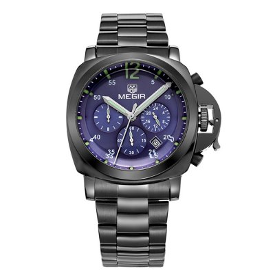 MEGIR 3006 Date Function Japan Quartz Male Watch Water Resistance with Stainless Steel Band