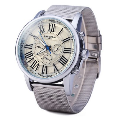 Laogeshi 398A Men Automatic Mechanical Watch with Date Day Steel Net Band