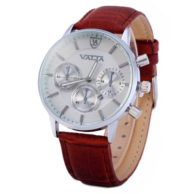 Valia 8281 - 2 Male Date Function Quartz Watch with Leather Band