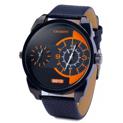 Cagarny 6813 Leather Band Male Dual Movt Japan Quartz Watch
