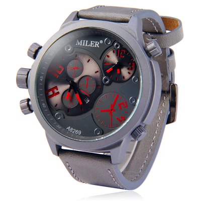 Miler A8269 Dual Movt Men Quartz Watch with Date Function Leather BandMens Watches<br>Miler A8269 Dual Movt Men Quartz Watch with Date Function Leather Band<br><br>Available Color: Black,Gray,Orange,White<br>Band material: Leather<br>Brand: Miler<br>Case material: Stainless Steel<br>Clasp type: Pin buckle<br>Display type: Analog<br>Movement type: Quartz watch<br>Package Contents: 1 x Miler A8267 Watch<br>Package size (L x W x H): 28.20 x 6.70 x 2.40 cm / 11.1 x 2.64 x 0.94 inches<br>Package weight: 0.136 kg<br>Product size (L x W x H): 27.20 x 5.70 x 1.40 cm / 10.71 x 2.24 x 0.55 inches<br>Product weight: 0.086 kg<br>Shape of the dial: Round<br>Special features: Date, Decorating small sub-dials<br>The band width: 2.4 cm / 0.95 inches<br>The dial diameter: 5.7 cm / 2.24 inches<br>The dial thickness: 1.4 cm / 0.55 inches<br>Watch style: Fashion<br>Watches categories: Male table<br>Wearable length: 21 - 25 cm / 8.27 - 9.84 inches