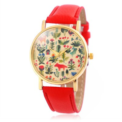 Jijia SG1251 Golden Case Quartz Watch with Leather Band for Women