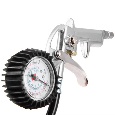 Auto Motorcycle Truck Air Tire Inflating Tool Pressure Dial GaugeOther Car Gadgets<br>Auto Motorcycle Truck Air Tire Inflating Tool Pressure Dial Gauge<br><br>Color: Black<br>Features: Portable<br>Material: Aluminum Alloy, Plastic<br>Package Contents: 1 x Air Tire Inflating Tool with Gauge<br>Package size (L x W x H): 27.5 x 15.5 x 8 cm / 10.81 x 6.09 x 3.14 inches<br>Package weight: 0.32 kg<br>Product size (L x W x H): 21.5 x 9 x 6 cm / 8.45 x 3.54 x 2.36 inches<br>Product weight: 0.246 kg<br>Test Unit/Mode: Bar