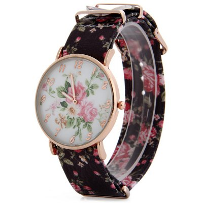 Fresh Style Floral Print Design Female Quartz Watch with Leather Strap