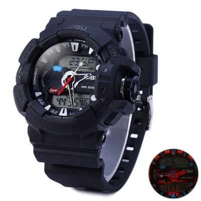 Gobu 1535 Dual Movt LED Sport WatchSports Watches<br>Gobu 1535 Dual Movt LED Sport Watch<br><br>Available Color: Black,Blue,Orange<br>Band material: Rubber<br>Brand: Gobu<br>Case material: PC<br>Clasp type: Pin buckle<br>Display type: Analog-Digital<br>Movement type: Double-movtz<br>Package Contents: 1 x Gobu 1535 LED Watch<br>Package size (L x W x H): 26.5 x 6 x 2.6 cm / 10.41 x 2.36 x 1.02 inches<br>Package weight: 0.111 kg<br>People: Unisex table<br>Product size (L x W x H): 25.5 x 5 x 1.6 cm / 10.02 x 1.97 x 0.63 inches<br>Product weight: 0.061 kg<br>Shape of the dial: Round<br>Special features: Alarm Clock, Stopwatch, Date, Day<br>The band width: 2.2 cm / 0.87 inches<br>The dial diameter: 5.0 cm / 1.97 inches<br>The dial thickness: 1.6 cm / 0.63 inches<br>Watch style: Military, Fashion&amp;Casual, Outdoor Sports, LED<br>Water resistance : 30 meters<br>Wearable length: 16.5 - 23.5 cm / 6.50  - 9.25 inches
