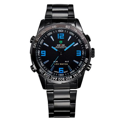 Weide WH1009 Japan Quartz Dual-movt LED Sports Watch 30M Water ResistanceSports Watches<br>Weide WH1009 Japan Quartz Dual-movt LED Sports Watch 30M Water Resistance<br><br>Available Color: Black,Blue,Red,Silver,White,Yellow<br>Band material: Stainless Steel<br>Brand: Weide<br>Case material: Stainless Steel<br>Clasp type: Folding clasp with safety<br>Display type: Analog-Digital<br>Movement type: Double-movtz<br>Package Contents: 1 x Weide WH-1009 LED Watch<br>Package size (L x W x H): 21.00 x 5.10 x 2.20 cm / 8.27 x 2.01 x 0.87 inches<br>Package weight: 0.2400 kg<br>People: Male table<br>Product size (L x W x H): 20.00 x 4.10 x 1.20 cm / 7.87 x 1.61 x 0.47 inches<br>Product weight: 0.1290 kg<br>Shape of the dial: Round<br>Special features: Alarm Clock, Stopwatch, Day, Date<br>The band width: 1.8 cm / 0.71 inches<br>The dial diameter: 4.1 cm / 1.61 inches<br>The dial thickness: 1.2 cm / 0.5 inches<br>Watch style: LED, Military, Outdoor Sports<br>Water resistance : 30 meters