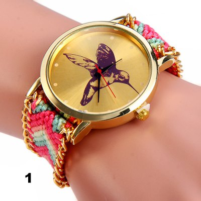 Woven Woolen Female Hummingbird Quartz Watch Pull Cord BraceletWomens Watches<br>Woven Woolen Female Hummingbird Quartz Watch Pull Cord Bracelet<br><br>Band material: Woolen<br>Case material: Stainless Steel<br>Display type: Analog<br>Movement type: Quartz watch<br>Package Contents: 1 x Woven Woolen Watch<br>Package size (L x W x H): 8 x 5 x 2 cm / 3.14 x 1.97 x 0.79 inches<br>Package weight: 0.078 kg<br>Product size (L x W x H): 30 x 4 x 1 cm / 11.79 x 1.57 x 0.39 inches<br>Product weight: 0.028 kg<br>Shape of the dial: Round<br>Style: Retro, Fashion&amp;Casual<br>The dial diameter: 4.0 cm / 1.57 inches<br>The dial thickness: 1.0 cm / 0.39 inches<br>Watches categories: Female table<br>Wearable length: 14 - 28 cm / 5.91 - 11.0 inches