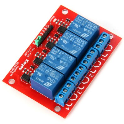 KEYES MD0278 Relay ModuleRelays<br>KEYES MD0278 Relay Module<br><br>Channel: 4-CH<br>Mainly Compatible with: Ardunio<br>Package Contents: 1 x KEYES 4-Channel 24V Relay Module<br>Package Size(L x W x H): 14.20 x 8.90 x 2.20 cm / 5.58 x 3.50 x 0.86 inches<br>Package weight: 0.101 kg<br>Product Size(L x W x H): 7.50 x 5.40 x 2.00 cm / 2.95 x 2.12 x 0.79 inches<br>Product weight: 0.058 kg<br>Type: 4-Channel 24V Relay Module