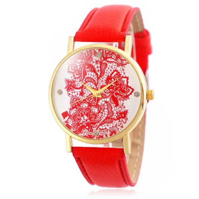 Jijia Retro Flower Women Quartz Watch with Leather Band