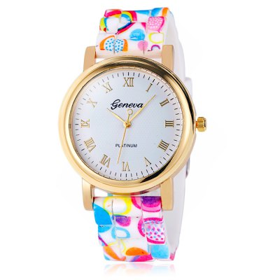Jijia Printed Silicone Band Women Quartz WatchWomens Watches<br>Jijia Printed Silicone Band Women Quartz Watch<br><br>Available Color: Black,Blue,Green,Colorful<br>Band material: Silicone<br>Brand: Jijia<br>Case material: Alloy<br>Clasp type: Pin buckle<br>Display type: Analog<br>Movement type: Quartz watch<br>Package Contents: 1 x Jijia Watch<br>Package size (L x W x H): 26 x 5.1 x 2 cm / 10.22 x 2.00 x 0.79 inches<br>Package weight: 0.096 kg<br>Product size (L x W x H): 25 x 4.1 x 1 cm / 9.83 x 1.61 x 0.39 inches<br>Product weight: 0.046 kg<br>Shape of the dial: Round<br>Style: Fashion&amp;Casual<br>The band width: 2.0 cm / 0.79 inches<br>The dial diameter: 4.1 cm / 1.61 inches<br>The dial thickness: 1.0 cm / 0.39 inches<br>Watches categories: Unisex table