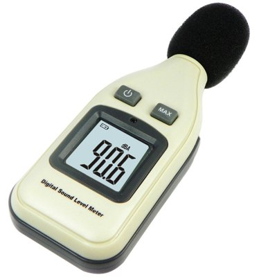 GM1351 Digital Sound Level MeterTesters &amp; Detectors<br>GM1351 Digital Sound Level Meter<br><br>Accuracy  : 1.5 dB<br>Certificate: CE,FCC,RoHs<br>Material: ABS, Plastic<br>Maximum Show Value: 130<br>Measurement range : 30 to 130dB<br>Model: GM1351<br>Package Contents: 1 x Digital Sound Level Meter<br>Package size: 20.00 x 15.00 x 5.00 cm / 7.87 x 5.91 x 1.97 inches<br>Package weight: 0.243 kg<br>Primary functions: Sound level measurement<br>Product size: 15.00 x 4.00 x 5.30 cm / 5.91 x 1.57 x 2.09 inches<br>Product weight: 0.106 kg<br>Professional instruments: Analyzer<br>Sampling Time: 2 times / seconds<br>Scope of application: Home appliance, Office, Industrial, Education, Agricultural<br>Type: Measuring instruments<br>Ultrasonic frequency: 31.5Hz - 8.5KHz<br>Working Mode: Instant measurement