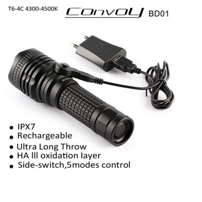 Convoy BD01 Cree XM - L2 T6 - 4C 1000Lm Rechargeable Waterproof 18650 / 26650 LED Flashlight Torch ( 4300 - 4500K )