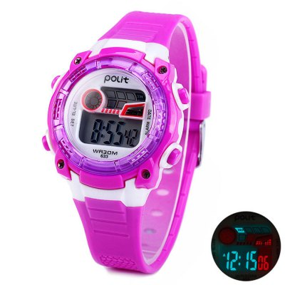 Polit 633 Water Resistant Children LED Watch with Rubber Band Date Day AlarmSports Watches<br>Polit 633 Water Resistant Children LED Watch with Rubber Band Date Day Alarm<br><br>Available Color: Black,Blue,Purple,Plum<br>Band material: Rubber<br>Brand: Polit<br>Case material: PC<br>Clasp type: Pin buckle<br>Display type: Digital<br>Movement type: Digital watch<br>Package Contents: 1 x Polit 633 LED Watch<br>Package size (L x W x H): 24.5 x 5 x 2.3 cm / 9.63 x 1.97 x 0.90 inches<br>Package weight: 0.08 kg<br>People: Children watch<br>Product size (L x W x H): 23.5 x 4 x 1.3 cm / 9.24 x 1.57 x 0.51 inches<br>Product weight: 0.030 kg<br>Shape of the dial: Round<br>Special features: Day, Date, Alarm Clock<br>The band width: 1.6 cm / 0.63 inches<br>The dial diameter: 4.0 cm / 1.57 inches<br>The dial thickness: 1.3 cm / 0.51 inches<br>Watch style: Fashion&amp;Casual, LED<br>Water resistance : 30 meters<br>Wearable length: 15.5 - 21 cm / 6.10 - 8.27 inches