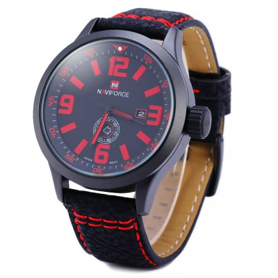 Naviforce 9057 Water Resistance Male Japan Quartz Watch with Date Day Display Leather Band