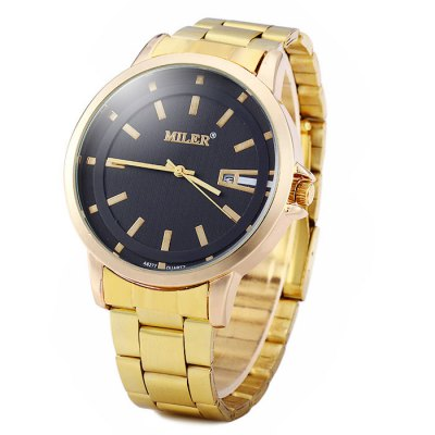 Miler A8277 Golden Color Date Display Male Quartz Watch Stainless Steel Strap