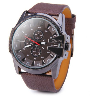 Oulm 9538 Male Tooth-shaped Crown Quartz Watch Embossed Leatehr Band Wristwatch