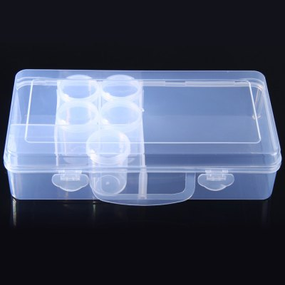 Small PP Component Box with five Small Drum BoxesStorage Supplies<br>Small PP Component Box with five Small Drum Boxes<br><br>Material: PP<br>Optional Color: Transparent<br>Package Contents: 1 x Small PP Component Box, 5 x Small Drum Box<br>Package size (L x W x H): 26.5 x 13.6 x 7.1 cm / 10.41 x 5.34 x 2.79 inches<br>Package weight: 0.299 kg<br>Product size (L x W x H): 25.5 x 12.6 x 6.1 cm / 10.02 x 4.95 x 2.40 inches<br>Product weight: 0.245 kg<br>Special function: Storage<br>Type: Tool Box