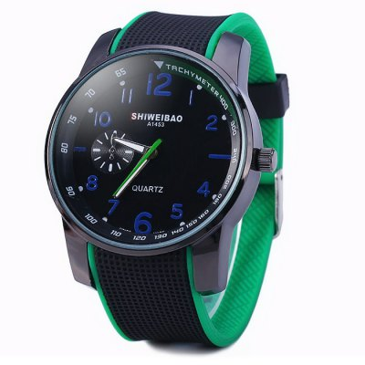 Shiweibao A1453 Contrast Color Rubber Strap Unisex Quartz WatchUnisex Watches<br>Shiweibao A1453 Contrast Color Rubber Strap Unisex Quartz Watch<br><br>Available Color: Red,Green,Orange,White<br>Band material: Rubber<br>Brand: Shiweibao<br>Case material: Stainless Steel<br>Clasp type: Pin buckle<br>Display type: Analog<br>Movement type: Quartz watch<br>Package Contents: 1 x Shiweibao A1453 Unisex Watch<br>Package size (L x W x H): 25.500 x 5.400 x 2.100 cm / 10.039 x 2.126 x 0.827 inches<br>Package weight: 0.106 kg<br>People: Unisex table<br>Product size (L x W x H): 24.500 x 4.400 x 1.100 cm / 9.646 x 1.732 x 0.433 inches<br>Product weight: 0.056 kg<br>Shape of the dial: Round<br>Special features: Decorative small sub-dials<br>The band width: 2.2 cm / 0.79 inches<br>The dial diameter: 4.4 cm / 1.73 inches<br>The dial thickness: 1.1 cm / 0.43 inches<br>Watch style: Casual<br>Wearable length: 16.5 - 21.3 cm / 6.50 - 8.39 inches