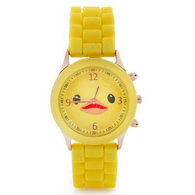 Candy Colors Ladies Duck Quartz Watch with Rubber Band