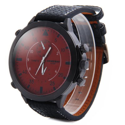 Shiweibao A1104 Big Dial Male Quartz Watch with Embossed Leather Strap Decorative Sub-dials