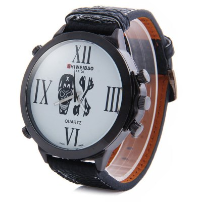 Shiweibao A1106 Big Dial Skull Pattern Male Quartz Watch with Embossed Leather Strap