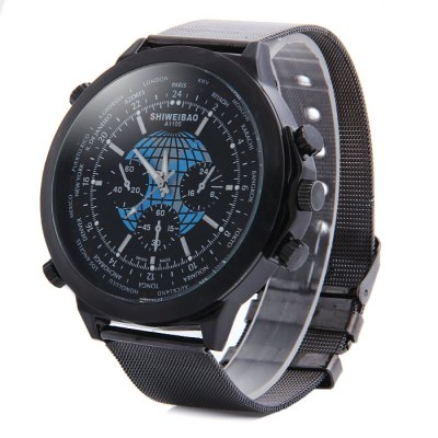 Shiweibao A1105 Big Dial Male Globe Pattern Quartz Watch with Steel Net Band