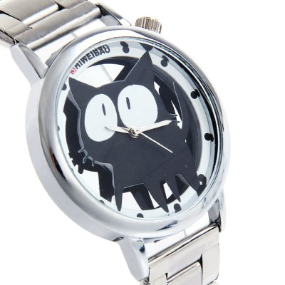 Shiweibao A7741 Transparent Dial Women Quartz Watch with Cat Pattern Stainless Steel BandWomens Watches<br>Shiweibao A7741 Transparent Dial Women Quartz Watch with Cat Pattern Stainless Steel Band<br><br>Available Color: Silver<br>Band material: Stainless Steel<br>Brand: Shiweibao<br>Case material: Stainless Steel<br>Clasp type: Folding clasp with safety<br>Display type: Analog<br>Movement type: Quartz watch<br>Package Contents: 1 x Shiweibao A7741 Watch<br>Package size (L x W x H): 15 x 5 x 1.8 cm / 5.90 x 1.97 x 0.71 inches<br>Package weight: 0.116 kg<br>Product size (L x W x H): 14 x 4 x 0.8 cm / 5.50 x 1.57 x 0.31 inches<br>Product weight: 0.066 kg<br>Shape of the dial: Round<br>Style: Fashion&amp;Casual<br>The band width: 1.8 cm / 0.71 inches<br>The dial diameter: 4.0 cm / 1.57 inches<br>The dial thickness: 0.8 cm / 0.31 inches<br>Watches categories: Female table