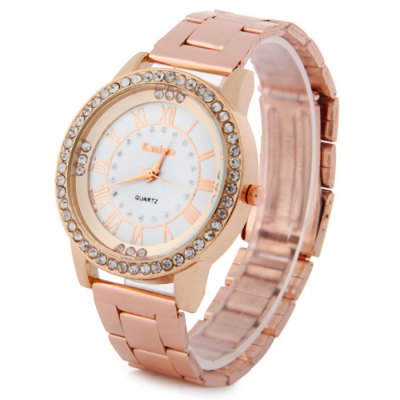Kanima Diamond Lady Golden Color Quartz Watch with Stainless Steel Body