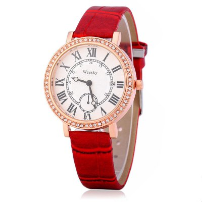 Weesky 1212G Female Diamond Quartz Watch with Date Display Golden CaseWomens Watches<br>Weesky 1212G Female Diamond Quartz Watch with Date Display Golden Case<br><br>Available Color: Black,White,Red,Brown<br>Band material: Leather<br>Brand: Weesky<br>Case material: Stainless Steel<br>Display type: Analog<br>Movement type: Quartz watch<br>Package Contents: 1 x Weesky 1212G Watch<br>Package size (L x W x H): 25.2 x 4.5 x 1.7 cm / 9.90 x 1.77 x 0.67 inches<br>Package weight: 0.081 kg<br>Product size (L x W x H): 24.2 x 3.5 x 0.7 cm / 9.51 x 1.38 x 0.28 inches<br>Product weight: 0.031 kg<br>Shape of the dial: Round<br>Special features: Decorating small sub-dials, Date<br>Style: Fashion&amp;Casual<br>The band width: 1.5 cm / 0.59 inches<br>The dial diameter: 3.5 cm / 1.38 inches<br>The dial thickness: 0.7 cm / 0.28 inches<br>Watches categories: Female table<br>Wearable length: 16.5 - 20 cm / 6.50 - 7.87 inches