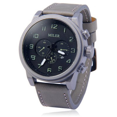 Miler A8265 Date Display Men Quartz Watch with Leather Band