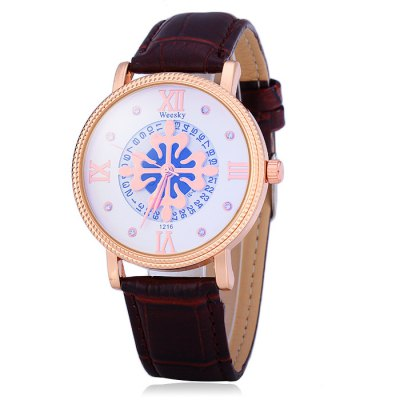 Weesky 1216G Male Diamond Quartz Watch with Date Function Flower DialMens Watches<br>Weesky 1216G Male Diamond Quartz Watch with Date Function Flower Dial<br><br>Available Color: Black,White,Brown<br>Band material: Leather<br>Brand: Weesky<br>Case material: Stainless Steel<br>Clasp type: Pin buckle<br>Display type: Analog<br>Movement type: Quartz watch<br>Package Contents: 1 x Weesky 1216G Watch<br>Package size (L x W x H): 26 x 5.1 x 1.7 cm / 10.22 x 2.00 x 0.67 inches<br>Package weight: 0.088 kg<br>Product size (L x W x H): 25 x 4.1 x 0.7 cm / 9.83 x 1.61 x 0.28 inches<br>Product weight: 0.038 kg<br>Shape of the dial: Round<br>Special features: Date<br>The band width: 2.0 cm / 0.79 inches<br>The dial diameter: 4.1 cm / 1.61 inches<br>The dial thickness: 0.7 cm / 0.28 inches<br>Watch style: Fashion<br>Watches categories: Male table<br>Wearable length: 17.5 - 22 cm / 6.89 - 8.66 inches