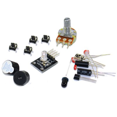 KT003 Arduino UNO Starter Kit with Bread Plate / Sensor / LED Light for DIY PartsKits<br>KT003 Arduino UNO Starter Kit with Bread Plate / Sensor / LED Light for DIY Parts<br><br>Mainly Compatible with: Ardunio<br>Material: PCB<br>Model: KT003<br>Package Contents: 1 x KT003 Arduino Starter Kit<br>Package Size(L x W x H): 21.50 x 14.50 x 4.70 cm / 8.46 x 5.71 x 1.85 inches<br>Package weight: 0.403 kg<br>Product weight: 0.221 kg