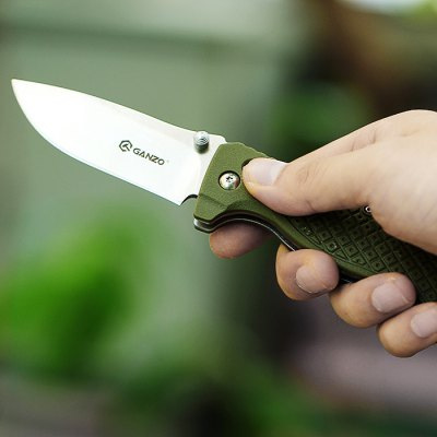 Ganzo G724M - GR Portable Axis Locking Foldable Camping Hunting Knife 440C Stainless Steel Blade