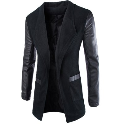 Trendy Lapel Large Pocket PU Leather Splicing Slimming Long Sleeve Woolen Blend Coat For Men