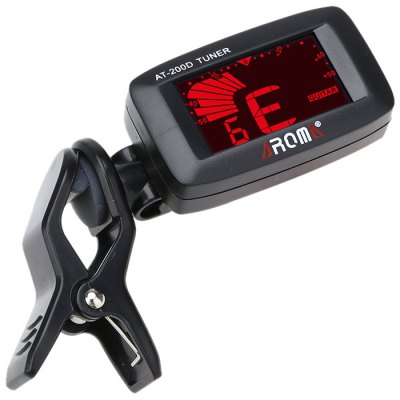 AROMA AT - 200D Portable Clip-on Electric Tuner Backlit Digital Screen for Guitar Chromatic Bass Ukulele Universal