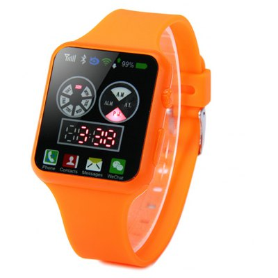 HZ57 Date Day Display LED Sports Watch with Red Digital Rubber Band
